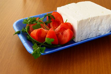 Tomatos and greek feta (cheese)