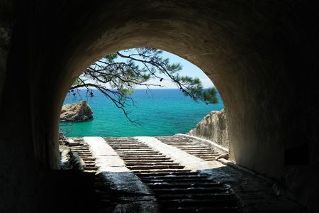 puerto rico:                                Cave and sea view