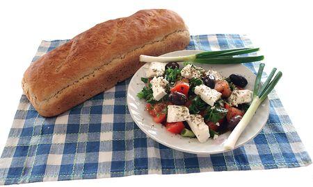 Greek salad and handmade bread