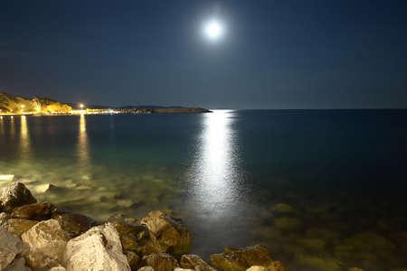 Moonlight at Limenaria, Thassos island, Greece Stock Photo