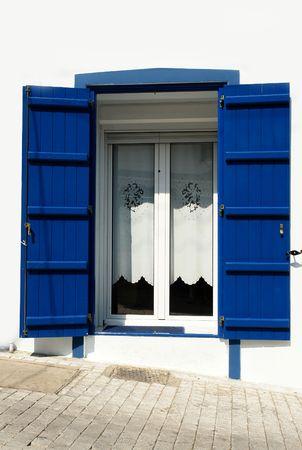 Greek window, Thassos island Stock Photo
