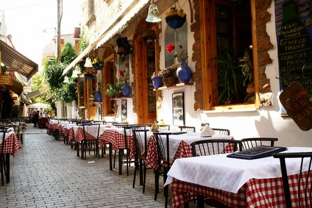 Traditional restaurant on Thassos island, Greece Stock Photo