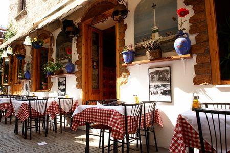 Traditional restaurant on Thassos island, Greece Stock Photo