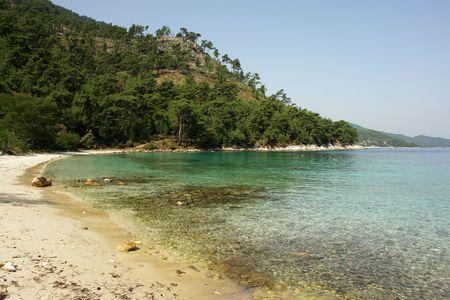 Crystal beach on Thassos island northern Greece Stock Photo