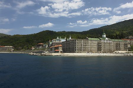 Monastery Panteleimonos, Mount Athos, Greece Stock Photo