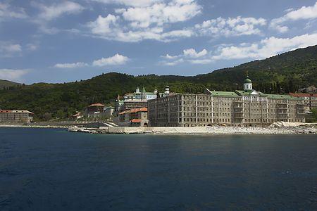 Monastery Panteleimonos, Mount Athos, Greece 스톡 사진