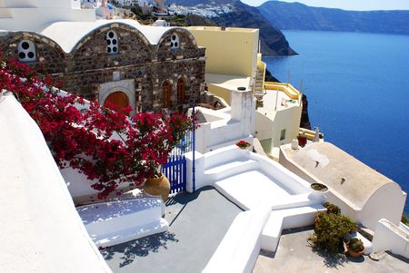 Flowers on balcony (Santorini island, Greece)                   Stock Photo