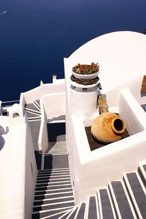 Steps to the sea on Santorini island Greece                 Stock Photo