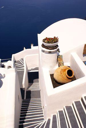 Steps to the sea on Santorini island Greece                 Stock Photo