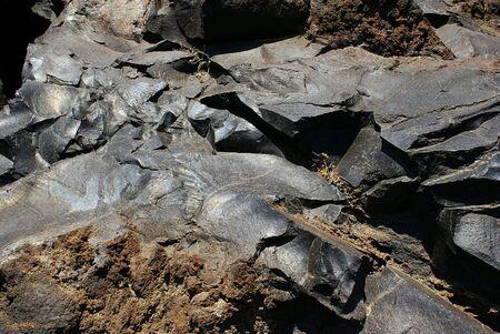 Lava from Santorini island Greece Stock Photo