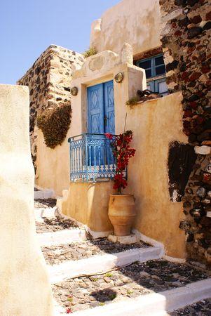 greek islands: Old house on Santorini island Stock Photo