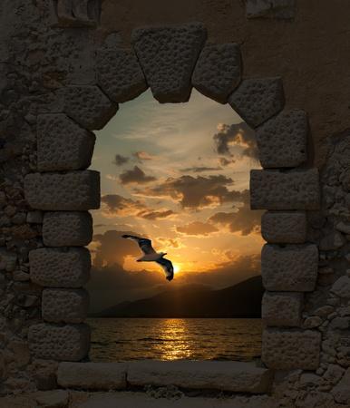 오래된 성을 통해 석양과 갈매기