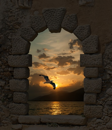 Sunset and seagull through the old castle Stock Photo