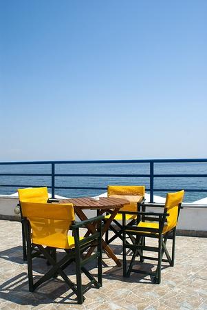 Beautiful cafeteria on the beach, Greece photo