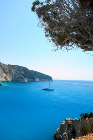 Sailboat in porto Katsiki beach, Lefkada Greece                           photo