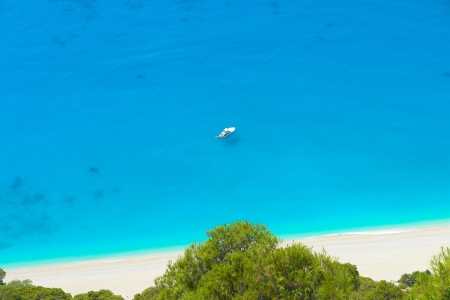 A boat in Ionian sea, Lefkada Greece                           photo