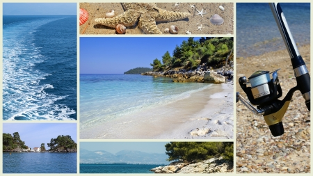 recollections: Collage of beautiful Greek beaches Stock Photo