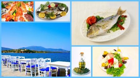 greek food: Collage of Greek traditional food