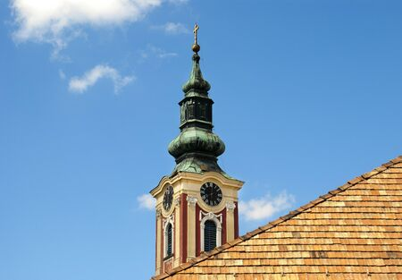 Belfry at blue sky in Budapest, Hungary