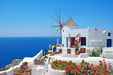 Traditional architecture of Oia village at Santorini island in Greece  Stock Photo