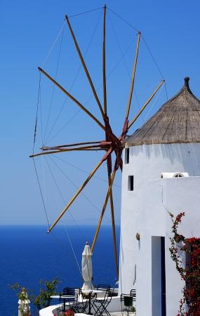 Traditional architecture of Oia village on Santorini island, Greece photo