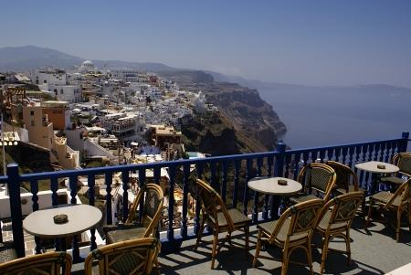 Beautiful cafeteria at the beach, on Santorini island, Greece Stock Photo