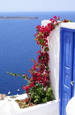 kyklades: Traditional greek door on Santorini island, Greece