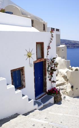 그리스 산토리니 섬에 Oia 마을의 전통 건축