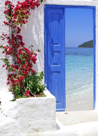 greek island: Traditional architecture of Oia village on Santorini island, Greece