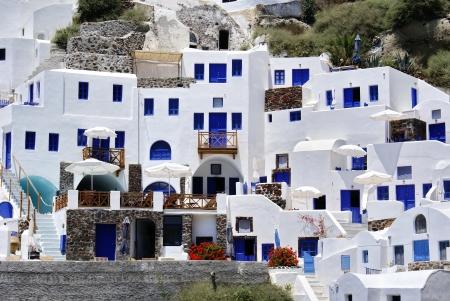 mykonos: Traditional architecture of Oia village on Santorini island, Greece