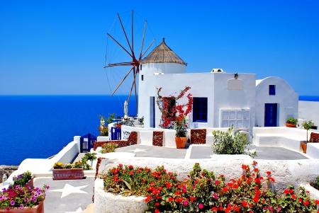 santorini: Traditional architecture of Oia village on Santorini island, Greece