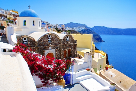 Traditional architecture of Oia village on Santorini island, Greece