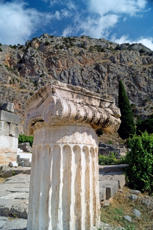 delfi: Single ionic order capital at Delphi archaeological site in Greece Stock Photo