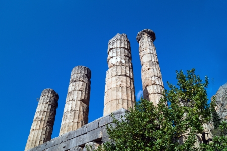 Temple of Apollo at Delphi oracle archaeological site in Greece photo
