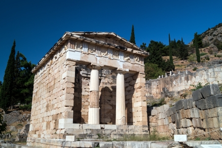 delfi: Treasure of the Athenians at Delphi oracle archaeological site in Greece Stock Photo