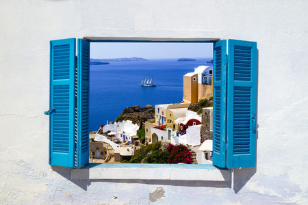 balcony window: Traditional architecture of Oia village on Santorini island, Greece