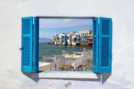 미코노스 섬, 그리스에 작은 베니스의 전경 스톡 사진