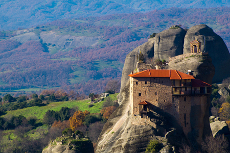 Hanging monastery at Meteora of Kalampaka in Greece. The Meteora area is on UNESCO World Heritage List since 1988 Editorial