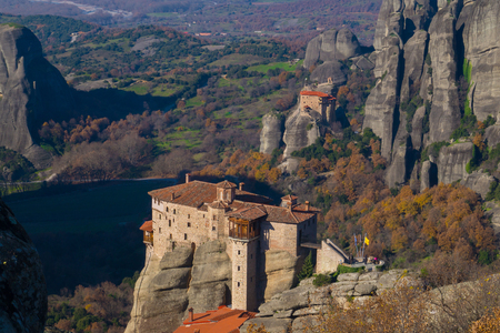 Hanging monastery at Meteora of Kalampaka in Greece