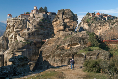 Hanging monastery at Meteora of Kalampaka in Greece.