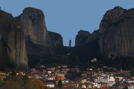 Hanging monastery at Meteora of Kalampaka in Greece. The Meteora area