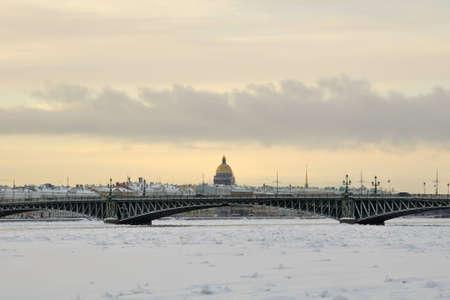 View of the Trinity Bridge St. Petersburg winter morning photo