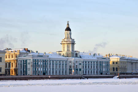 neva: Kunstkammer. The Neva River on a winter evening. St. Petersburg, Russia