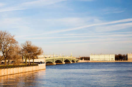 Trinity Bridge and the Embankment Kronverkskaya early spring. St. Petersburg, Russia Stock Photo - 9410890