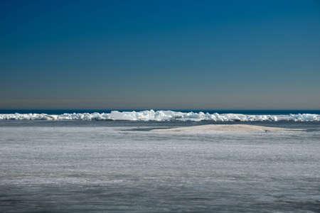 Ice hummocks on Lake Ladoga  Early spring
