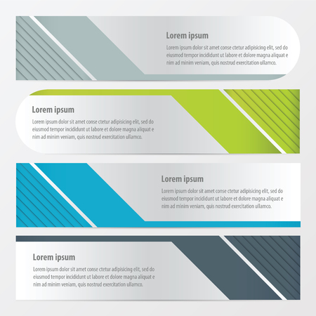 shape triangle: template banner set  Green, blue, gray color Illustration