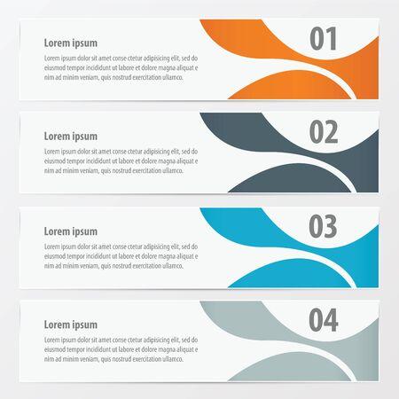 web design icon: abstract banner   Orange , blue, gray color Illustration