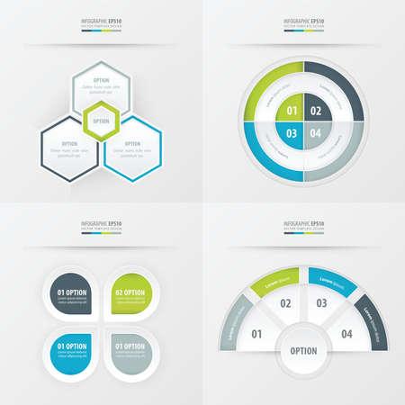 rhythm: template design 4 item  Green, blue, gray color