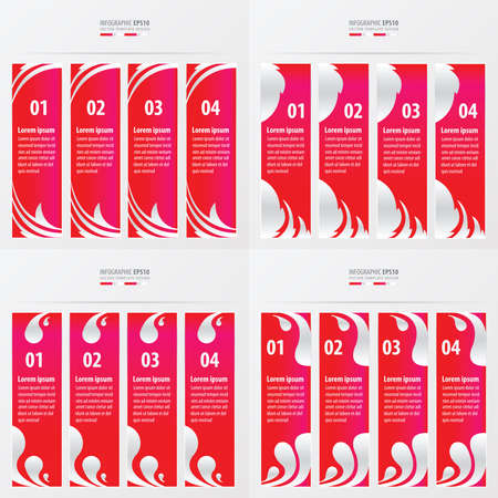 clip art numbers: vectors banner and template  pink color
