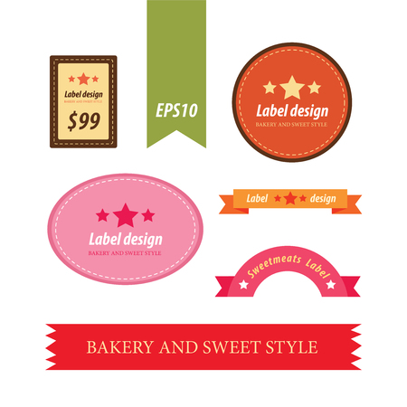 baked goods: Set of retro bakery labels Illustration